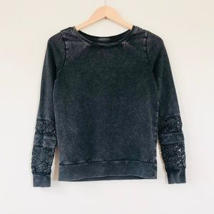 Lucky Lotus Lace Inset Cotton Pullover Lucky Black